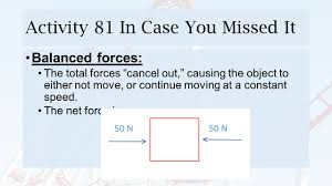 Balanced Forces Worksheet Activity 82 Braking Distance Warm Up What Are The Net Forces