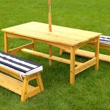 Bench Table Kidkraft Outdoor Table U0026 Bench Set With Cushions U0026 Umbrella Navy