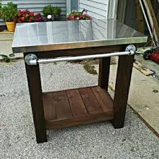 outdoor cooking prep table grill table with stainless steel top diy love the pipe handle