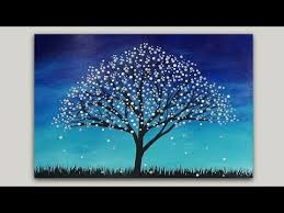 surreal tree acrylic painting abstract silhouette
