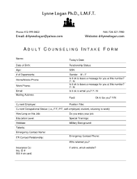 Counseling Intake Form Counseling Fillable Intake Form Fill Printable Fillable