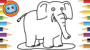 draw elephant colouring book simple drawing game