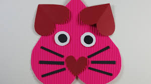 valentine u0027s day diy cat heart craft for kids youtube