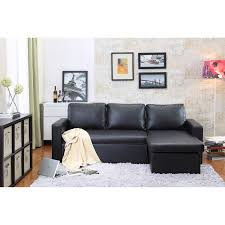reversible chaise sectional sleeper sofa black faux leather