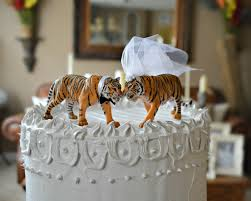 tiger bride groom wedding cake topper mr and mrs zoo