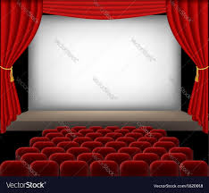 Curtains With Red Cinema Auditorium With Red Seats And Curtains Vector Image