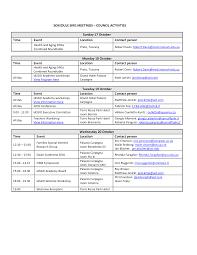 event schedule template schedule template free