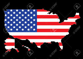 United States Map Outline by Usa Map Outline With United States Flag Vector Illustration