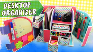 Desk Organizer Diy Desktop Organizer Cardboard Back To School Apasos Crafts Diy