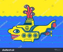 60s design yellow submarine sea cartoon vector design stock vector 281425466
