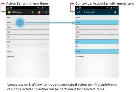 tutorial android menu bar android contextual action bar for listview item deletion using