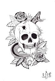 attractive snake with skull and roses tattoo design 82 amusing