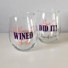 graduation wine glasses grad school graduation gift graduation gift personalized
