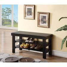 amazon com black finish solid wood storage shoe bench shelf by