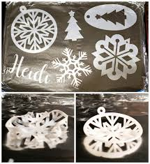 shrinky dink snowflake ornaments with cricut explore happiness