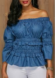 elastic waist blouse elastic waist blue the shoulder blouse rosewe com usd 33 69