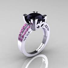 black and pink engagement rings modern vintage 14k white gold 3 0 ct black diamond light pink