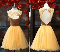 gold short homecoming dresses for girls special occasion cheap