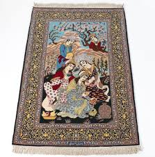 Signed Persian Rugs An Estate Persian Isphahan Signed Pictorial Rug After The Rubáiyát