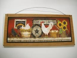rooster country kitchen wooden wall sign farm