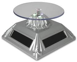 lighted display stand for glass art amazon com rotating turntable display stand led lighted solar