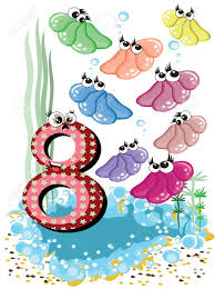 sea animals and numbers series for kids 8 royalty free cliparts