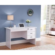Office Desk With Locking Drawers Modern Office Desk With Three Locking Drawers White Free