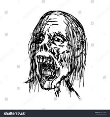 zombie head vector illustration sketch hand stock vector 722715382