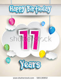 11th birthday celebration design clouds balloons stock vector