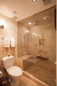 Bathroom Shower With Seat Contemporary 3 4 Bathroom With Shower Wall Sconce In