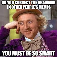 Oh Meme - oh you correct the grammar in other people s memes you must be so