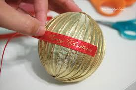 handmade ribbon wrapped ornament diy the