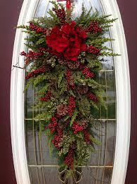 christmas wreath winter wreath holiday vertical teardrop swag