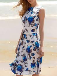 printed sleeveless floral belted dress blue floral dresses