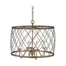 Large Drum Light Fixture by Drum Pendant Light With Silver Cage Shade Century Silver Leaf
