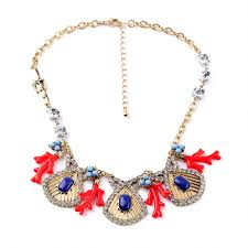 red big necklace images Bohemian red and blue fan charm coral charm statement necklace jpg