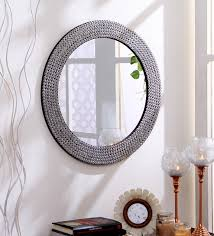 Circle Wall Mirrors Buy Silver Metal U0026 Mdf Decorative Studded Round Wall Mirror By