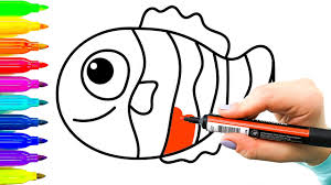 clown fish example simple drawing for children colouring videos