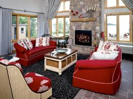 simple living room decor with red sofa design couch leather inside