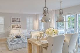 Chic Dining Room Shabby Chic Dining Room With Pendant Lights Add Metallic Glint