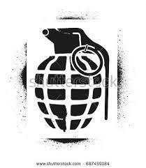 hand grenade silhouette spray graffiti stencil stock vector
