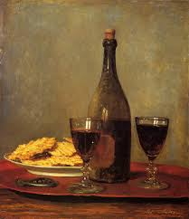 still life two glass of red wine a bottle of wine a corkscrew