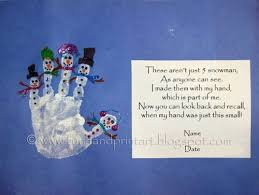 handprint snowman with poem handprint