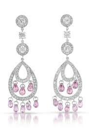 silver chandelier earrings flawless cubic cubic zirconia and sterling silver pink chandelier