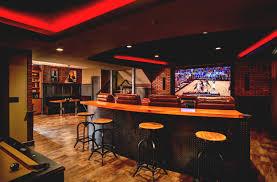 corner bar space basement home theater design l shape black marble