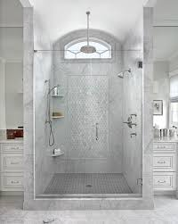 walk in shower with glass sliding doors on rails transitional