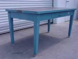 Metal Desk Vintage Steel Table Blue 1 Drawer Vintage Metal Desk Formica Top