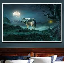 2017 moon night wolf mountain landscape diamond embroidery 5d