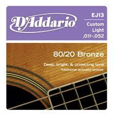 d addario ej13 80 20 bronze acoustic guitar strings custom light 11 52