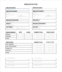 Excel Pay Stub Template Free Pay Stub Form Thebridgesummit Co